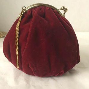 1920's burgundy velvet bag